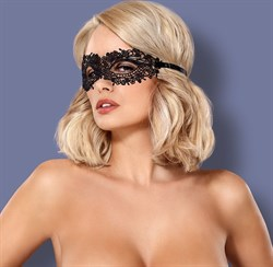 Чёрная ажурная маска на глаза на завязках - фото 577739