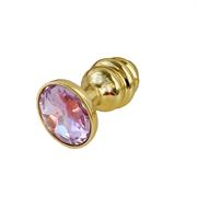 Золотая ребристая анальная пробка с бледно-розовым кристалом - S