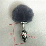 Анальная пробка с заячьим хвостиком серого цвета - 11,5 см.