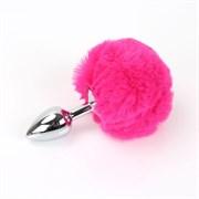 Анальная пробка с заячьим хвостиком ярко-розового цвета - 11,5 см.