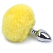 Анальная пробка с заячьим хвостиком желтого цвета - 11,5 см.