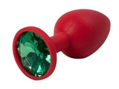Красная силиконовая пробка с зеленым стразом - S