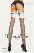 """Чулки """"CindyLove"""" черные с белой резинкой 9035, OS"""