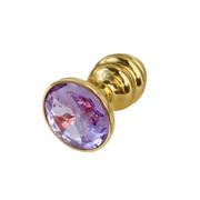 Золотая ребристая анальная пробка с бледно-фиолетовым кристалом - S