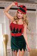 Костюм помощницы Санты Candy Girl (платье, стринги, головной убор), зелено-красный, OS
