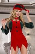 Костюм помощницы Санты Candy Girl (топ, юбка, стринги, галстук, головной убор), красно-зеленый, OS