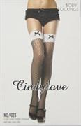 """Чулки """"CindyLove"""" черные с белой резинкой 9023, OS, Black"""