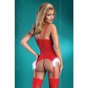 Новогодний корсет и трусики, Christmas Angel, красный - L\XL
