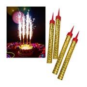 Свеча Фонтан для торта, Золото, 10 см, 4 шт.
